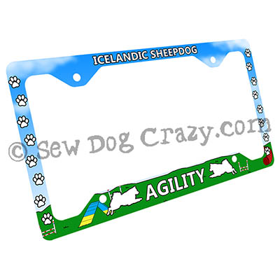 Iceland Sheepdog Agility License Plate Frame