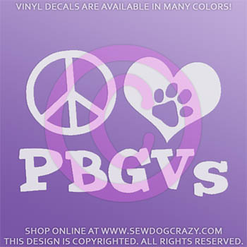 Peace Love PBGV Decal