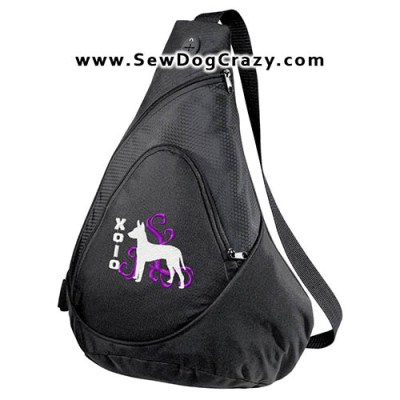 Embroidered Xoloitzcuintli Bag