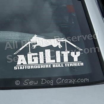 Staffie Agility Dog Walk Vinyl Sticker