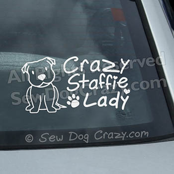 Crazy Staffie Lady Car Sticker