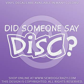 Disc Dog Car Sticker