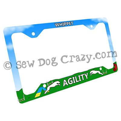 Whippet Agility License Plate Frame