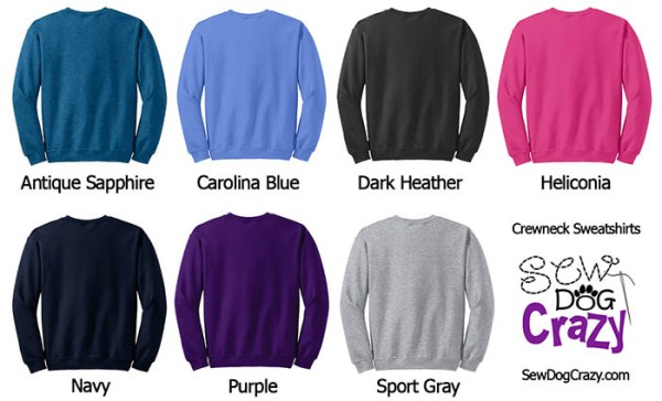 Available Sweatshirt Colors