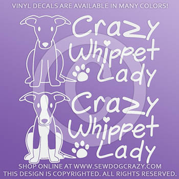 Crazy Whippet Lady Car Window Stickers