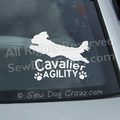 Cavalier King Charles Spaniel Agility Car Window Stickers