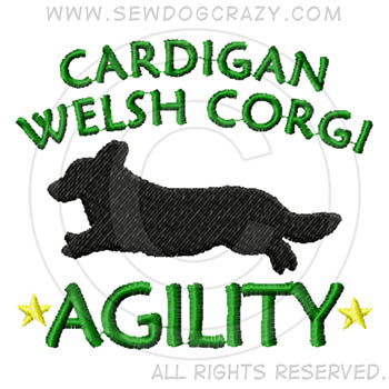 Embroidered Cardigan Welsh Corgi Agility Shirts