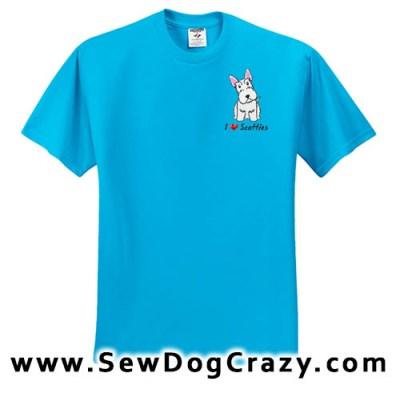 Embroidered White Scottish Terrier Tshirts