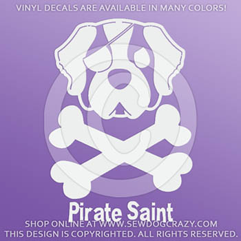 Pirate Saint Bernard Car Decals