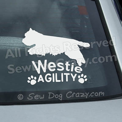 Westie Agility Window Stickers
