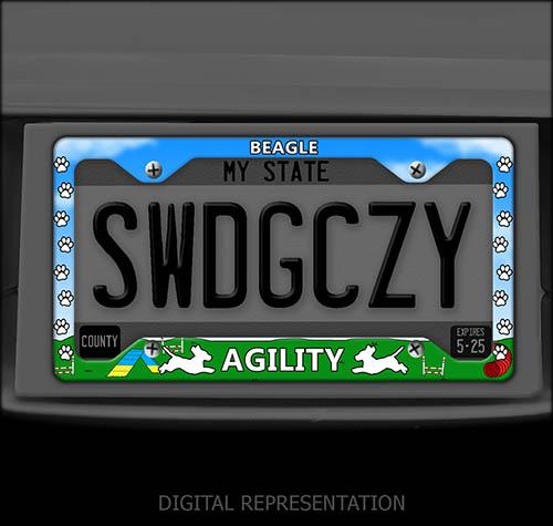 Beagle Agility License Plate Frame