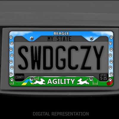 Beagle Agility License Plate Frame