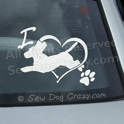 Vinyl Love Beagle Dog Sports Window Stickers