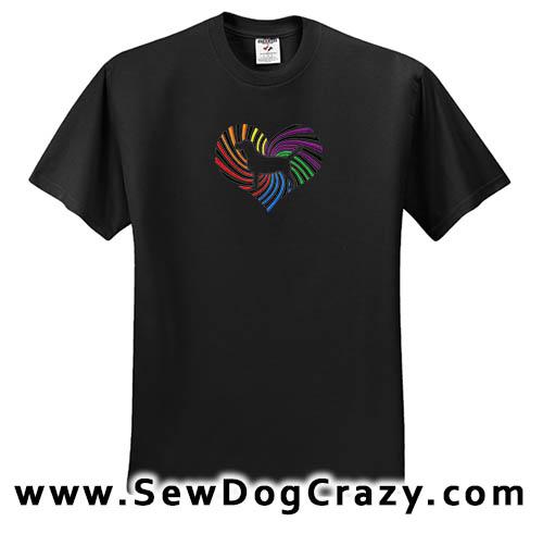 Rainbow Beagle Heart Embroidered Tshirt