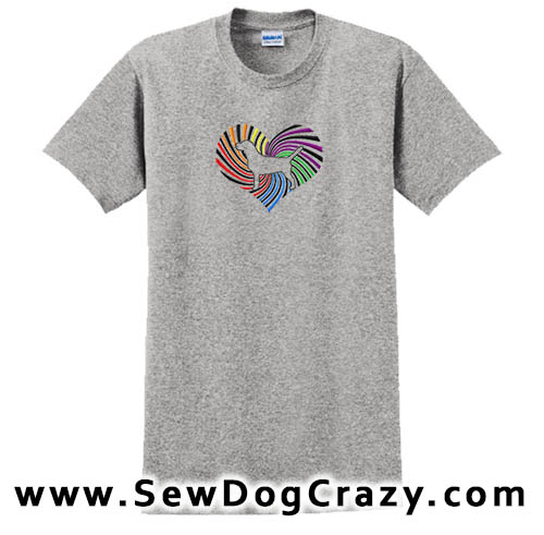Rainbow Heart Beagle Embroidered Tshirt