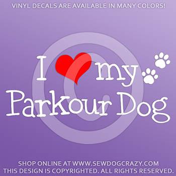 I Love my Parkour Dog Vinyl Sticker