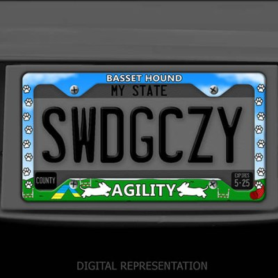 Basset Hound Agility License Plate Frame