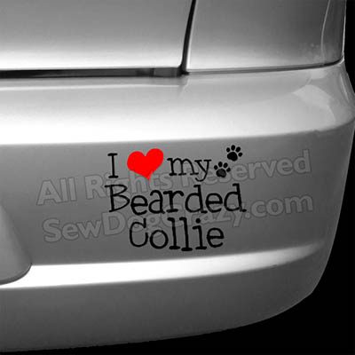 I Love my Bearded Collie Car Stickers