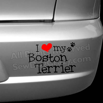 I Love my Boston Terrier Car Decal