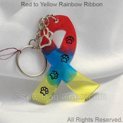 Rainbow Dog Cancer Ribbon Keychain