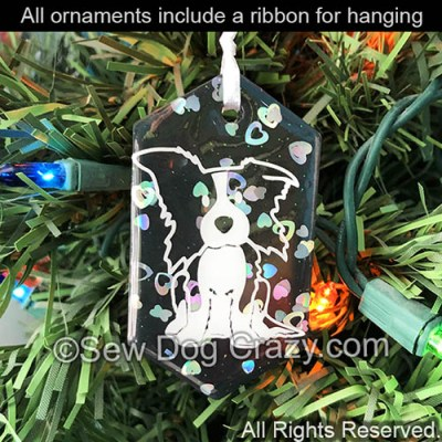 Cartoon Border Collie Christmas Ornament