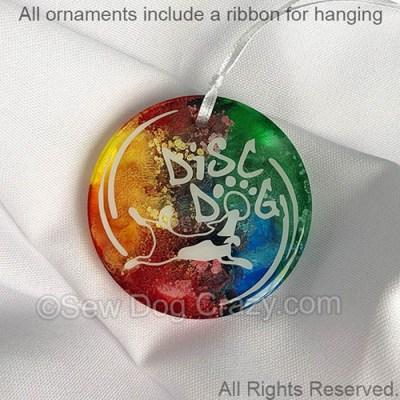Rainbow Disc Dog Ornaments