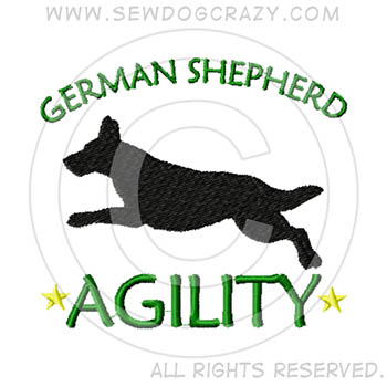 Embroidered German Shepherd Agility Shirts