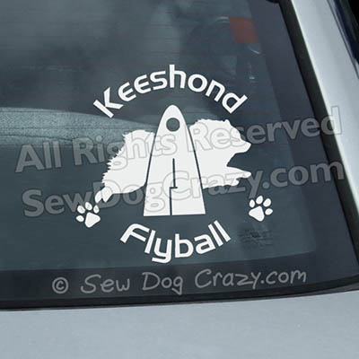 Keeshond Flyball Car Window Stickers