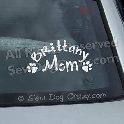 Brittany Dog Mom Car Window Sticker