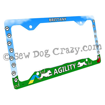 Brittany Agility Dog License Plate Frame