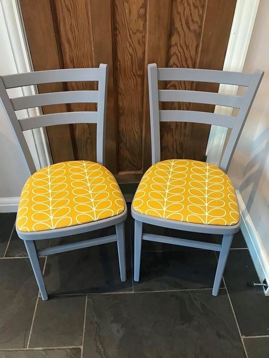 Pair Of Upcycled Orla Kiely Chairs
