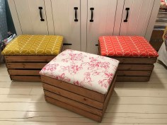 VIntage Upholstered seat crates