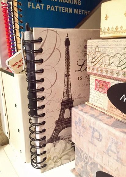 Notebook on shelf