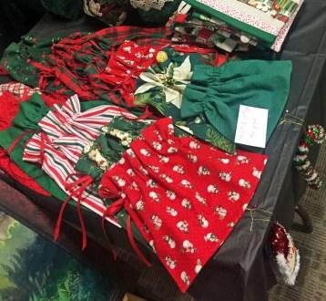 Fabric bags on bazaar table