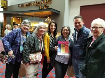 L to R: Rita Farro, Kate & Ann from Sew Expo, Scott from Schmetz Needles, Mary Mulari