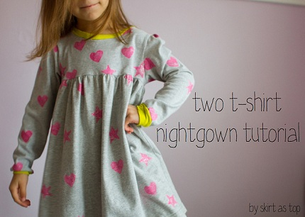 Tutorial Little Girl S Nightgown Made Two T Shirts Sewing