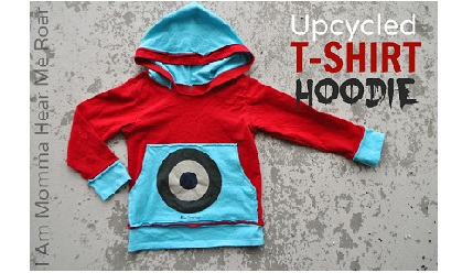 upcycled t-shirt hoodie