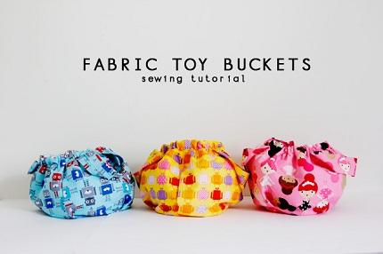 Tutorial Drawstring Fabric Toy Buckets Sewing