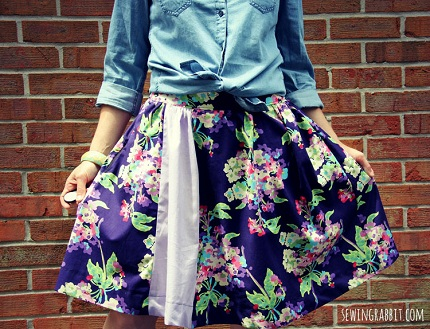 Tutorial: Contrast panel gathered skirt