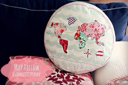 Tutorial applique map throw pillow sewing how cute is this appliqued map pillow the sewing rabbit made it using a free project from jo ann though she made the design her own by using prints gumiabroncs Image collections