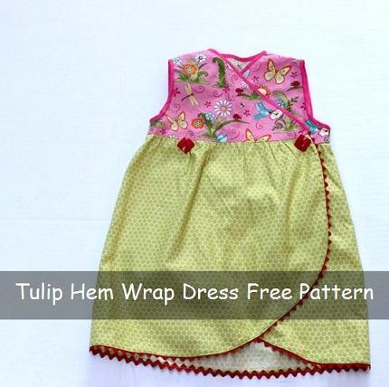 Free Pattern Tulip Hem Wrap Dress For A Toddler Sewing