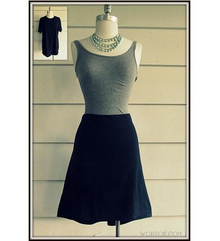 Tutorial: No-sew t-shirt skirt