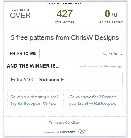 Winner of 5 free patterns from ChrisW Designs