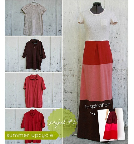 Tutorial: Upcycle 4 t-shirts into one color blocked maxi dress