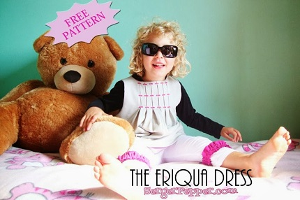 Free pattern: Little girl's Eriqua Dress with inverted pleat bodice