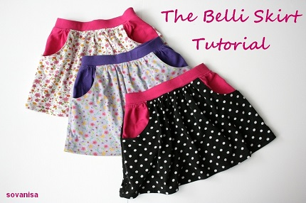 Tutorial: Scoop pocket skirt for little girls