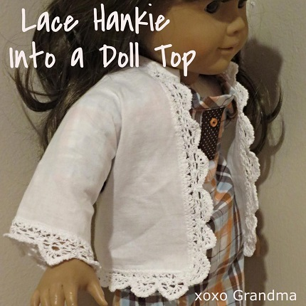 Free pattern: Lace hankie 18″ doll jacket