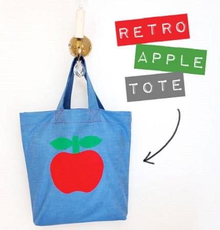 Tutorial: Retro apple tote bag