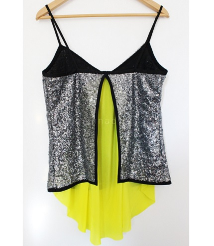 Tutorial: Color splash sequined top refashion