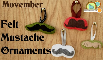 Free pattern: Felt mustache Christmas ornaments